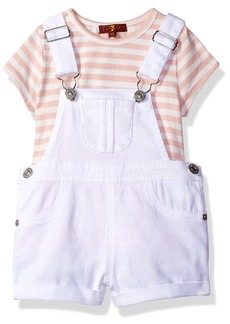 7 For All Mankind Toddler Girls' 2 Piece Striped T-Shirt and Denim Shortall Set