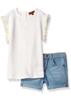 7 For All Mankind Toddler Girls' 2 Piece Summer Sweater and Denim Short Set