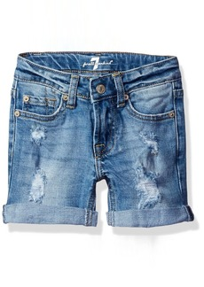 7 For All Mankind Girls' Toddler 5 Pocket Distressed Roll Cuff Denim