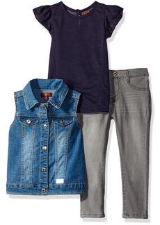 7 For All Mankind Girls' Toddler Flutter Sleeve Top Denim Vest and Jean Set