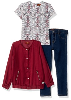 7 for all mankind Girls' Toddler Jacket Knit Top and Pant Set (More Styles Available) G3282-Anemone