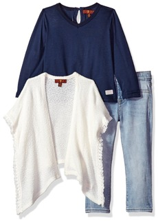 7 For All Mankind Toddler Girls' Sweater Knit Top and Pant Set (More Styles Available) G3276-Oatmeal
