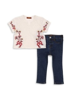 7 For All Mankind Toddler's Two-Piece Embroidered Top & Skinny Jeans Set