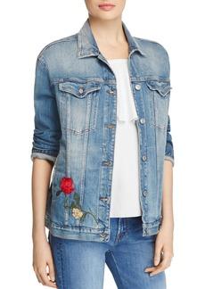 7 For All Mankind Trucker Rose Embroidered Denim Jacket