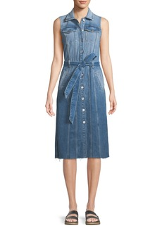 7 For All Mankind Trucker Vest Button-Down Sleeveless Denim Dress