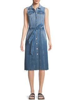 7 For All Mankind Trucker Vest Button-Down Sleeveless Denim Dress