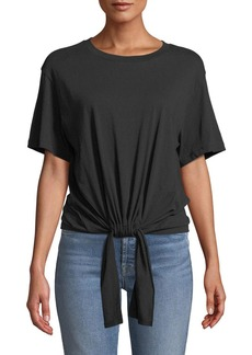 7 For All Mankind Tunnel-Front Crewneck Cotton Tee