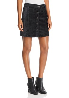 7 For All Mankind Velvet Mini Skirt in Blackened Emerald