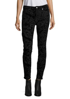 7 For All Mankind Velvet Paisley-Print Ankle Skinny Jeans