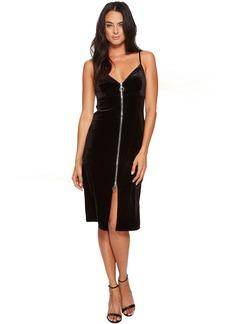 7 For All Mankind Velvet Slip Dress w/ Zip in Black