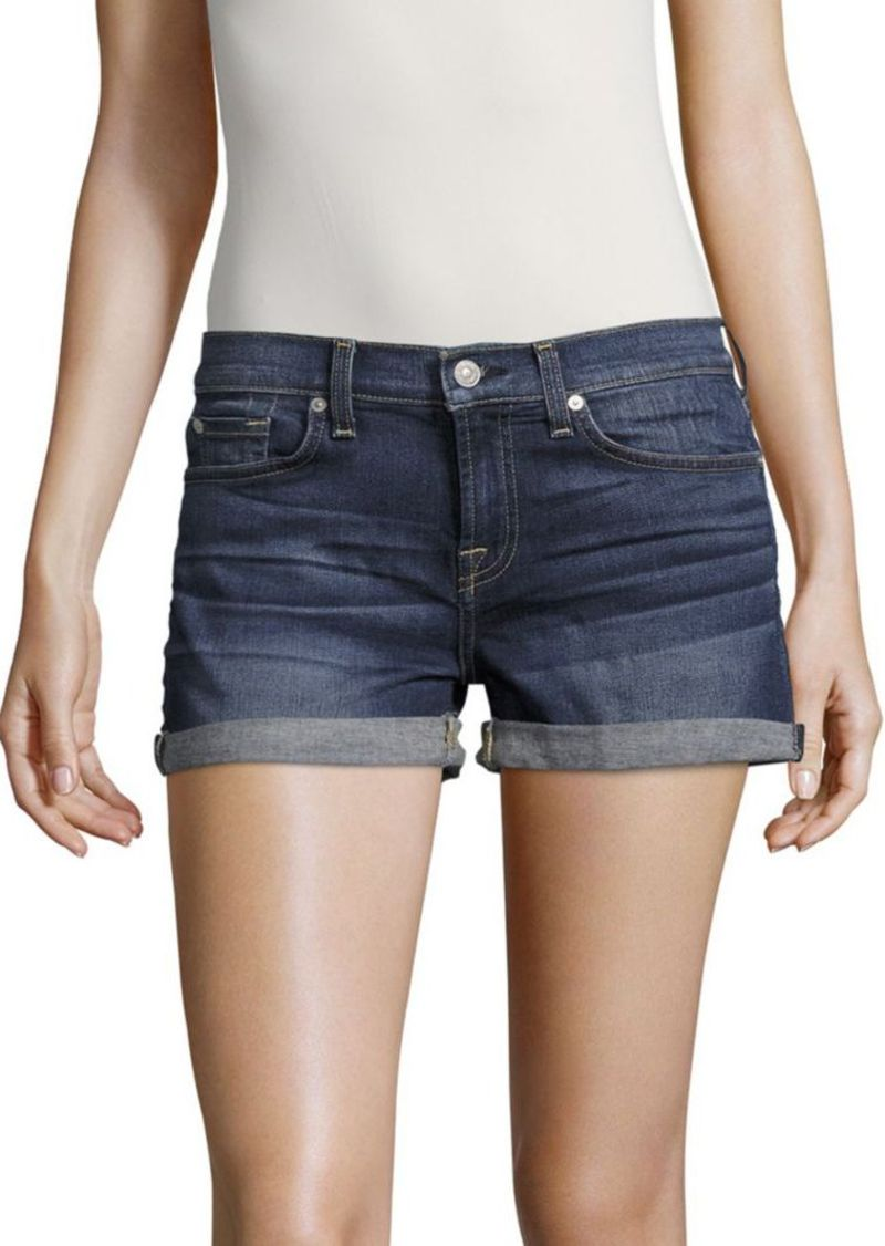 7 For All Mankind Whiskered Denim Shorts