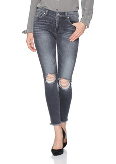 7 For All Mankind Women's Ankle Gwenevere Jean with Knee Holes and Raw Hem