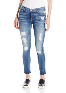 7 For All Mankind Women's Skinny Distressed Destroy Jean Ankle Pant Authentic Light