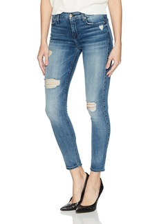 7 For All Mankind Women's Ankle Skinny Jean with Destroy and Grinded Hem