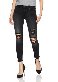 7 For All Mankind Women's Ankle Skinny Jean with Destroy in Aged Onyx