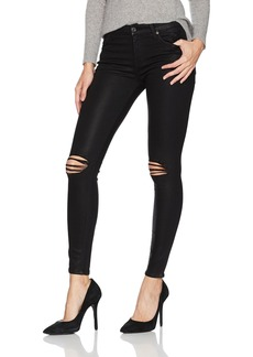 7 For All Mankind Women's Ankle Skinny Jean with Destroy in Black Coated Color