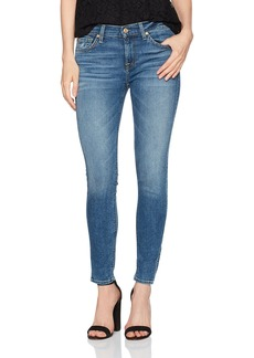 7 For All Mankind Women's Ankle Skinny Jean With Distress and Squiggle
