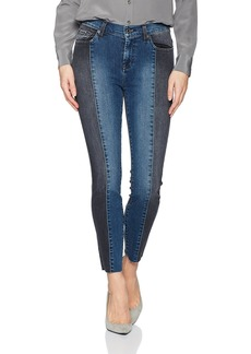 7 For All Mankind Women's Ankle Skinny Jean with Piecing and Cut Off Hem