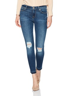 7 For All Mankind Women's Ankle Skinny Jean with Released Hem and Destroy
