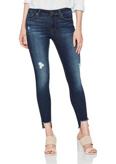 7 For All Mankind Women's Ankle Skinny Jean with Step Hem and Destroy