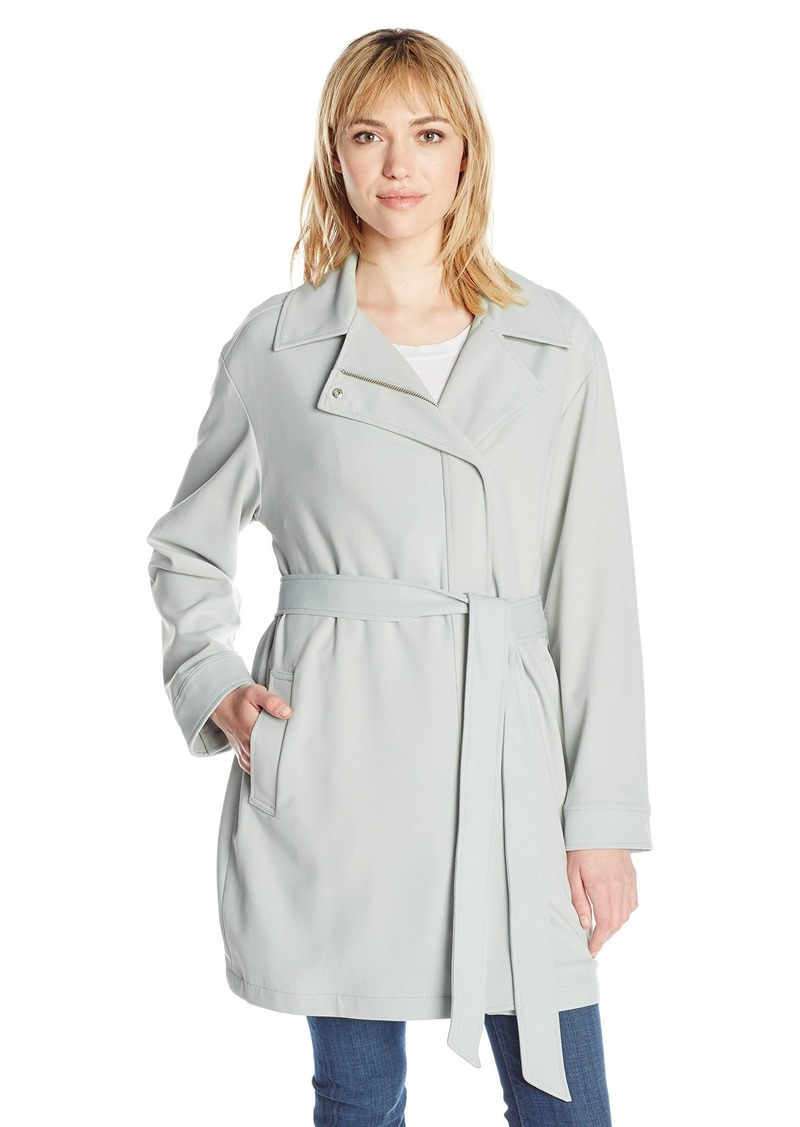 7 For All Mankind Women's Asymmetrical Fashion Drape Trench Coat  L