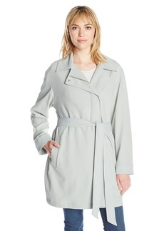 7 For All Mankind Women's Asymmetrical Fashion Drape Trench Coat  M
