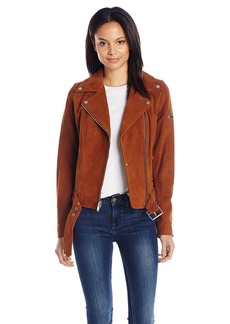 7 For All Mankind Women's Asymmetrical Zip Front Belted Suede Moto Jacket