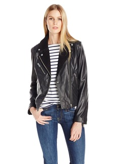 7 For All Mankind Women's Asymmetrical Zip Front Classic Moto Jacket in Suede and Leather Combination