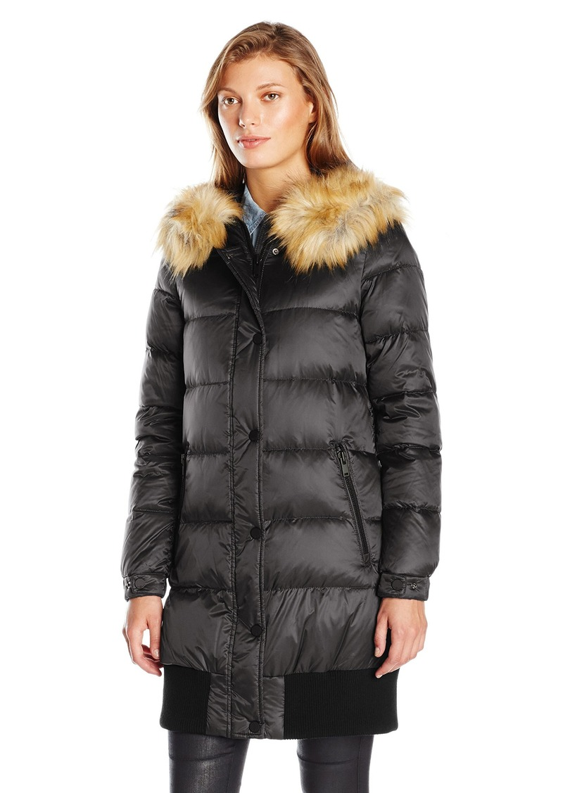 7 For All Mankind Women's Blouson Body Down Coat with Detachable Faux Fur Trim