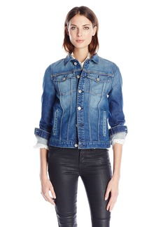 7 For All Mankind Women's Classic Denim Jacket in Aggressive Bright Indigo 3