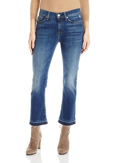 7 For All Mankind Women's Cropped Boot Jean with Distress and Released Hem