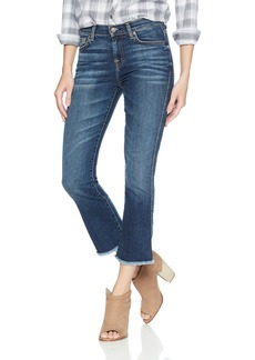 7 For All Mankind Women's Cropped Boot Jean with Frayed Hem