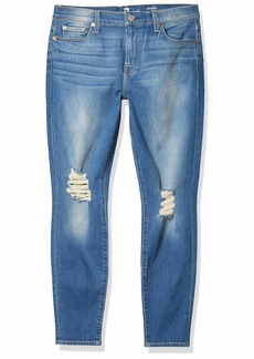 7 For All Mankind Women's Destroyed Ankle Gwenevere Skinny Mid Rise Jeans
