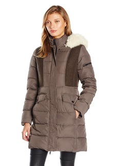 7 For All Mankind Women's Down Coat Mixed with Melange Wool Insets and Hidden Zipper Closure
