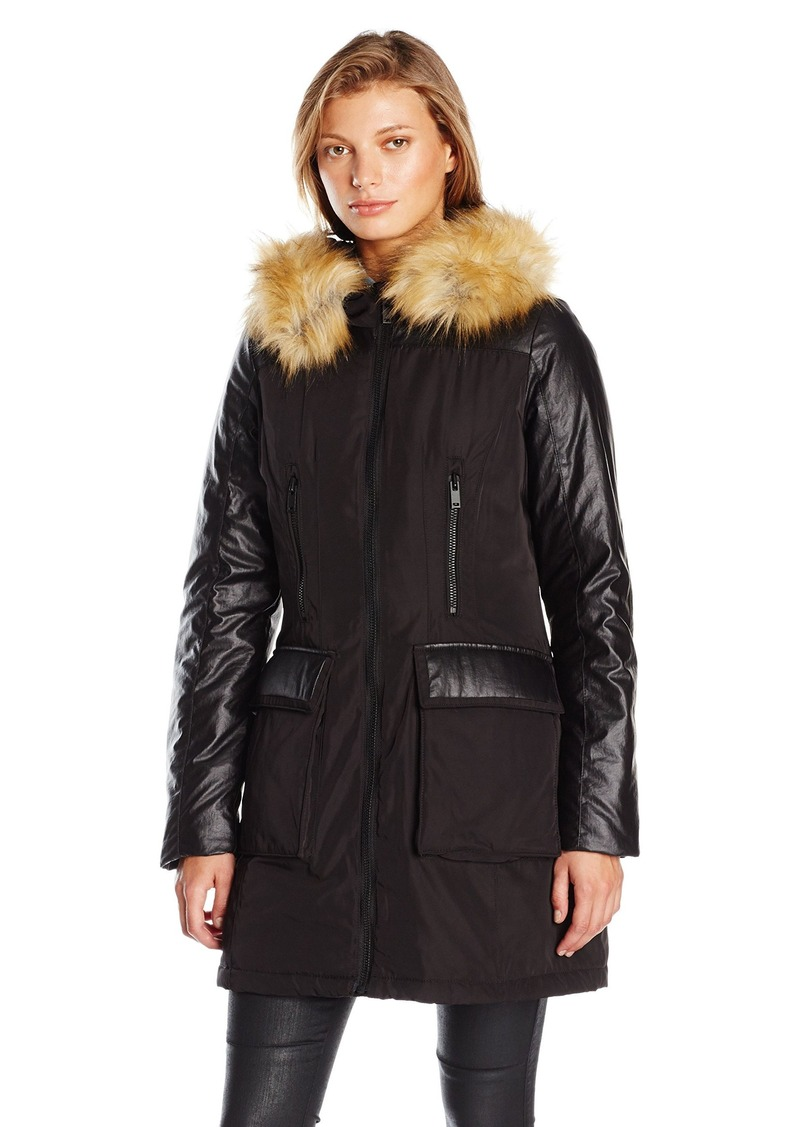 7 For All Mankind Women's Down Parka with Patch Pockets and Detachable Faux Fur Trim