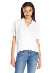 7 For All Mankind Women's Draped Crossfront Shirt De Blanc L