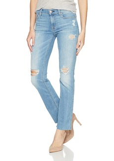 7 For All Mankind Women's Dylan Full Length Straight Jean With Cut Off Hem and Destroy