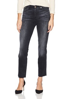 7 For All Mankind Women's Edie Cropped Straight Leg Jean with Raw Hem