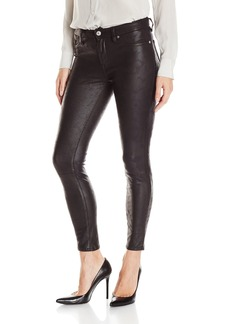 7 For All Mankind Women's Faux-Leather Skinny Jean Black Like