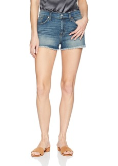 7 For All Mankind Women's High Waist Cut Off Jean Short With Distress and Squiggle
