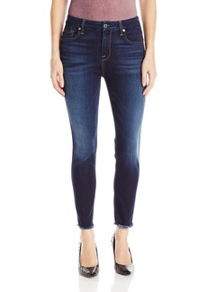 7 For All Mankind Women's Hw Ankle Skinny Jean with Raw Hem  25