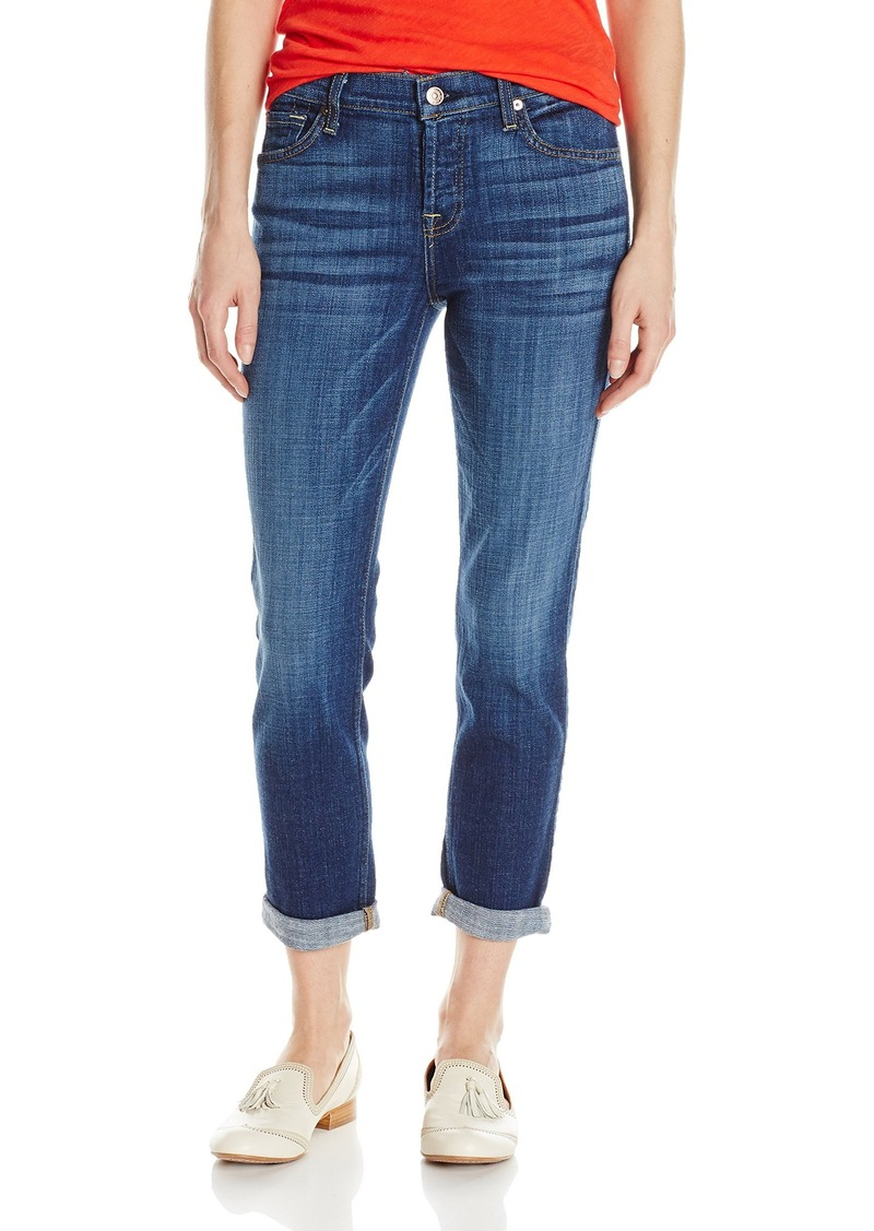 7 For All Mankind Women's Josefina Boyfriend Jean in Brillian Blue Broken Twill