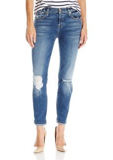 7 For All Mankind Women's Josefina Boyfriend Jean with Rolled Hem in Authentic Medium Blue Dust  27