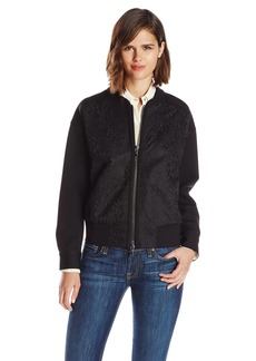 7 For All Mankind Women's Lace-Overlay Bomber Jacket