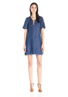 7 For All Mankind Women's Lace Up Denim Dress