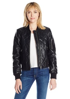 7 For All Mankind Women's Leather Bomber Jacket  L