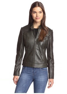7 For All Mankind Women's Leather Jacket with Tucking Detail  XL