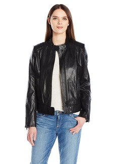 7 For All Mankind Women's Leather Scuba Jacket  XL