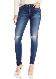 7 For All Mankind Women's Mid Rise Skinny Jean with Knee Holes