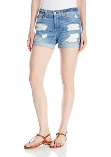 7 For All Mankind Women's Relaxed Mid Roll Short W/Destroy Jean